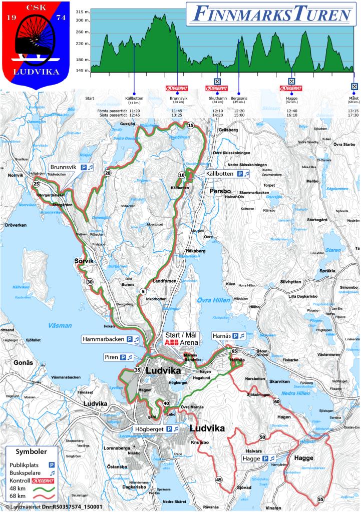 Finnmarksturen har en lång och en kortare sträckning, där den långa är röd.